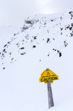 Avalanche Warning Sign on Whitehorn Mountain in Lake Louise Royalty Free Stock Photography