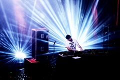 The Avalanches band perform a DJ set concert at Primavera Sound 2016. BARCELONA - JUN 5: The Avalanches band perform a DJ set concert at Primavera Sound 2016 Royalty Free Stock Images