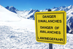 Avalanches danger. View of a notice board showing a danger of avalanches Royalty Free Stock Photography
