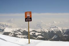 Avalanches Sign in Swiss Alps Royalty Free Stock Images