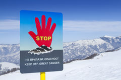 Avalanches sign warning. Avalanches warning sign in ski resort Stock Image