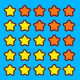 A avaliação alaranjada do jogo stars a relação dos botões dos ícones Imagens de Stock Royalty Free