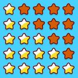 A avaliação amarela do jogo stars botões dos ícones Fotografia de Stock