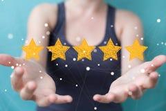 Avaliação da mulher de negócios com as estrelas tiradas mão Imagens de Stock