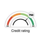 Avaliação da pontuação de crédito Manômetro das ilustrações isolado no fundo branco Foto de Stock Royalty Free