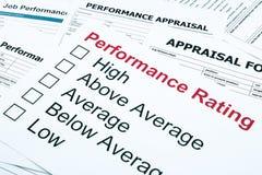 Avaliação de desempenho e formulário da avaliação Fotos de Stock Royalty Free