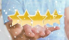 A avaliação do homem de negócios stars com sua rendição da mão 3D Fotografia de Stock