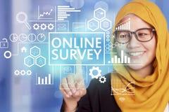 A avaliação em linha, mercado inspirador do Internet do negócio exprime o Qu imagens de stock