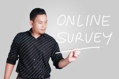 A avaliação em linha, mercado inspirador do Internet do negócio exprime o Qu imagem de stock
