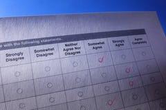 Avaliação ou formulário do questionário foto de stock
