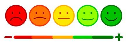 A avaliação por emoticons, ajustou a emoção do smiley, por smilies, emoticons dos desenhos animados - vetor ilustração royalty free