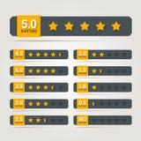 A avaliação stars crachás. Imagem de Stock