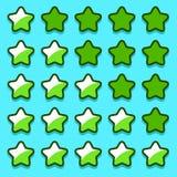 A avaliação verde do jogo stars botões dos ícones Imagem de Stock