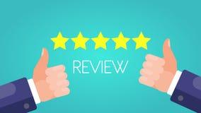 Avaliando cinco estrelas Os polegares levantam com sinal da revisão Fundo verde ilustração stock