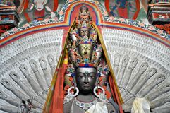 Avalokitesvara - Thousand hands Buddha statue from Ladakh Stock Photos