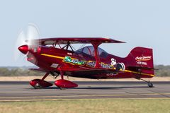 13 Time Australian Aerobatic Champion Chris Sperou flying his Pitts S-1-11B Super Stinker aerobatic biplane VH-XPS. Avalon, Australia - March 2, 2013: 13 Time royalty free stock photos