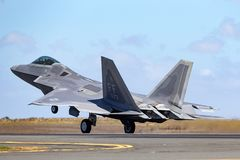United States Air Force USAF Lockheed Martin F-22A Raptor fifth-generation, single-seat, twin-engine, stealth tactical fighter. Avalon, Australia - March 2, 2013 royalty free stock image