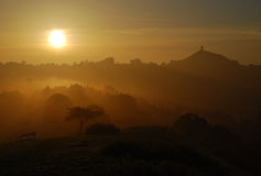 Avalon, Glastonbury Sunrise. Avalon, Glastonbury golden dawn sunrise Royalty Free Stock Photo