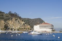 Avalon Harbour - Catalina Island. A view of Avalon Harbour in Catalina Island of Southern California... The famous casino building shows in the picture though it Stock Image