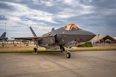 Avalon, Melbourne, Australia - Mar 3, 2019: F-35 military fighter jet royalty free stock image