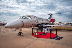 Avalon Melbourne, Australien - Mars 3, 2019: Privat stråle för Embraer legat 500 arkivbilder