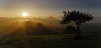 Avalon morning sunrise. Morning dawn sunrise in Avalon Glastonbury England Royalty Free Stock Images