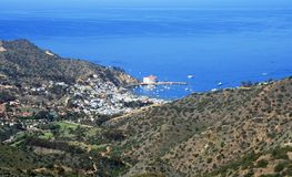 Avalon from Trans Catalina Trail. Aerial view of Avalon Harbor from the Trans Catalina Trail Stock Photography
