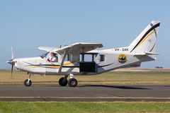Gippsland Aeronautics GA8 Airvan VH-SXK single engine utility aircraft being used for skydiving operations. Avalon, Victoria, Australia - March 3, 2013 royalty free stock photography
