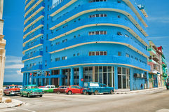 AVANA, CUBA - 15 AGOSTO 2016 Vista di trascuratezza dell'hotel di Deauville Fotografia Stock