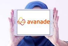 Avanade professional services company logo. Logo of Avanade company on samsung tablet holded by arab muslim woman . Avanade is a global professional services stock image