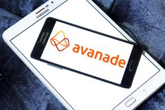 Avanade professional services company logo. Logo of Avanade company on samsung mobile . Avanade is a global professional services company providing IT consulting royalty free stock photos