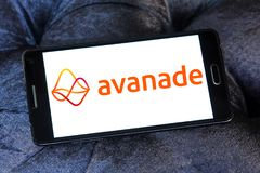 Avanade professional services company logo. Logo of Avanade company on samsung mobile . Avanade is a global professional services company providing IT consulting royalty free stock photography