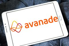 Avanade professional services company logo. Logo of Avanade company on samsung tablet . Avanade is a global professional services company providing IT consulting stock photos
