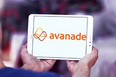 Avanade professional services company logo. Logo of Avanade company on samsung tablet . Avanade is a global professional services company providing IT consulting royalty free stock photo