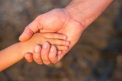 Avance de la main du père son fils d'enfant en nature de forêt d'été Image stock