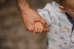 Avance de la main du père son fils d'enfant en nature de forêt d'été extérieure, Photos libres de droits