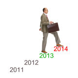 Avancement. Homme d'affaires marchant sur des escaliers de dessin Images stock