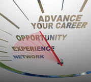 Avancez votre tachymètre Job Promotion Raise de mots de carrière Photos stock