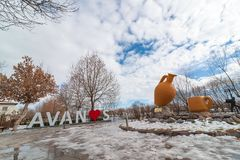 AVANOS, TURKEY - JAN 23, 2019: Avanos town name sculpture near by the kizilirmak river on snowy Winter. Avanos is a touristic town stock photography