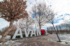 AVANOS, TURKEY - JAN 23, 2019: Avanos town name sculpture near by the kizilirmak river on snowy Winter. Avanos is a touristic town royalty free stock photos
