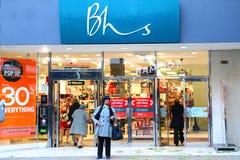 Avant à la maison britannique de magasin de magasins de BHS images libres de droits