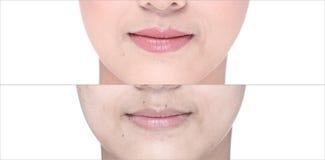 Avant après, utilisant le rouge à lèvres sur la lèvre de moutth par lustre et affilez Images libres de droits