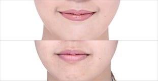 Avant après, utilisant le rouge à lèvres sur la lèvre de moutth par lustre et affilez Image libre de droits