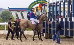 Avant course de chevaux pour le prix du sprint superbe dans Pyatigorsk Photographie stock libre de droits