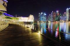Avant de baie de marina la nuit, Singapour Photos libres de droits