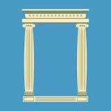Avant de marbre antique de temple avec les colonnes ioniques, Photographie stock