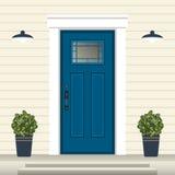 Avant de porte de Chambre avec le seuil et étapes, fenêtre, lampe, fleurs dans le pot, façade d'entrée de bâtiment, conception ex illustration stock