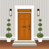 Avant de porte de Chambre avec le seuil et étapes, fenêtre, lampe, fleurs dans le pot, façade d'entrée de bâtiment, conception ex illustration libre de droits