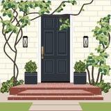 Avant de porte de Chambre avec le seuil et étapes, lampe, fleurs dans des pots, façade d'entrée de bâtiment, entrée extérieure av illustration stock