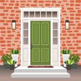 Avant de porte de Chambre avec le seuil et étapes, lampe, fleurs dans des pots, façade d'entrée de bâtiment, entrée extérieure av illustration libre de droits